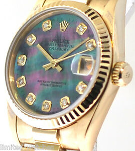 18k Midsize Rolex Gold Watch MensLadies Size 31mm Custom Black Pearl Diamonds