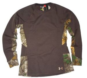 Under Armour women's Extreme base Realtree Hunting Shirt Brown Camo Size LARGE L
