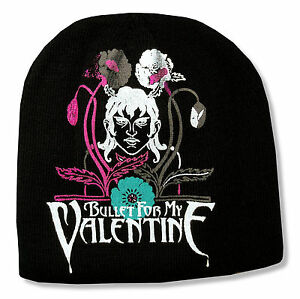 Bullet For My Valentine Flowers Printed Black Beanie Hat New Official Osfm