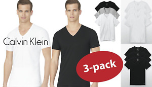 New 3 Pack CLASSIC FIT Calvin Klein Mens V Neck Crew Neck T Shirt Tee $24.99