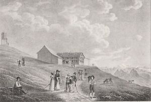 1839 Antique Lithographs SWITZERLAND L#x27;Auberge de Righi Staffel amp; Righi Kulm $10.00