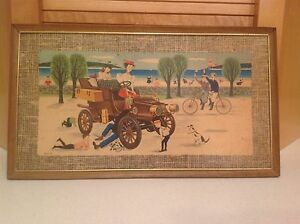 Kentley Corrigan Metal Framed Color Lithograph ANTIQUE CAR quot;Day at the Beachquot; $20.00