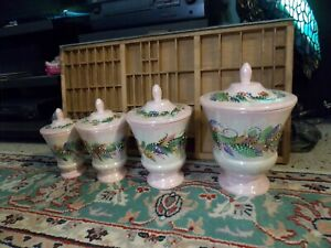 1966 CERAMIC CANISTER APOTHECARY JAR Set Of 4 Hand Painted UNIQUE Mid Century VG