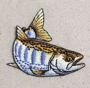 Fish Brook Trout Natural Fishing Camping Iron on Applique Embroidered Patch
