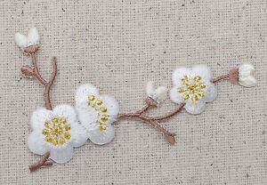 RIGHT White Flowers Blossom Quince Brown Stem Iron on Applique Embroidered Patch $2.99