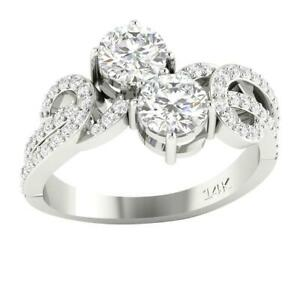 Forever Us Two Stone Ring Natural Round Cut Diamond I1 G 1.60 Ct 14K Gold $1149.99