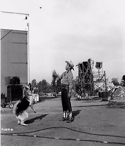 RARE STILL ROY ROGERS WITH BULLET PLAYING CATCH ON LOT