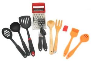 Large Lot of Kitchen Utensils Gadgets Graters Pastry Brush Can Opener Spoons