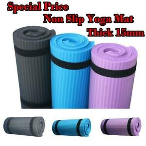 60x25cm Thick Yoga Mat 15mm Gym Exercise Fitness Pilates Workout Non Slip Mat US