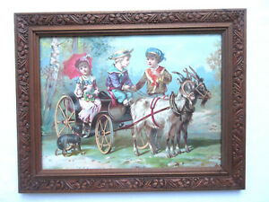 French frame and lithograph 1900: Goat carriage and children Napoleon III style
