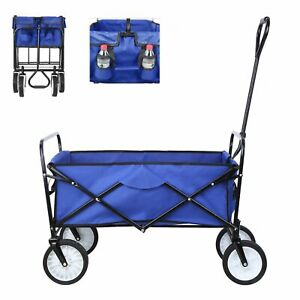 Collapsible Beach Wagon Folding Support up 165lbs Camping Utility Cart Outdoor