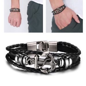 Men#x27;s Multilayer Black Braided Leather Anchor Bangle Bracelet Fashion Wristband