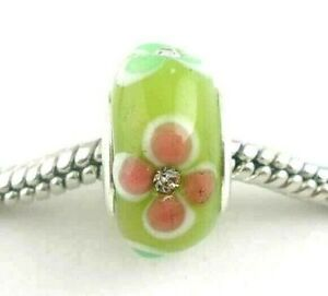 25 GREEN PINK European Style Charms Wholesale Bulk Glass Beads fits Bracelets