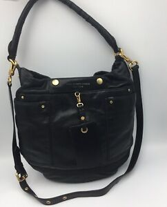 Lovely MARC JACOBS New York BLACK Calf Skin LEATHER Hobo CROSS BODY BAG Purse