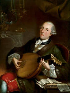 Oil painting ancient male portraits figures young man noble man playing guitar $69.99