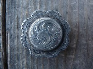 Sterling Silver Engraved Concho 1 34