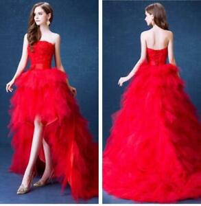 Womens Mid Long Dresses Red Lace Wedding Bride Formal Party Evening Sexy Slim Sz