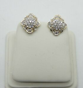 62 Diamonds in these 14k Cluster Style Diamond Earrings with Omega Backs