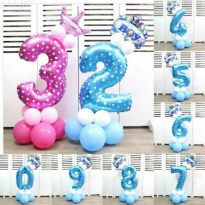 Inch Party Balloons Helium Ballons Foil Decor Pinkamp;Blue 32 Digit Number Birthday