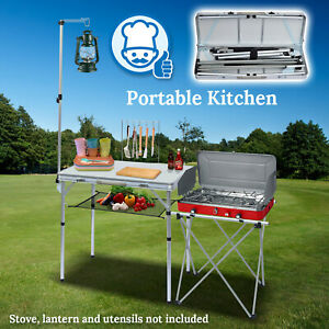 Outdoor Portable Camping Kitchen Folding Alu. Table BBQ Grill Stand w Stoarage