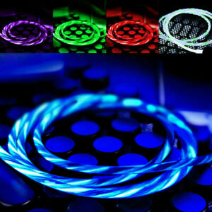 LED Light flowing Visible USB Charger Charging Cable Cord For iPhone 8 7 X XS XR