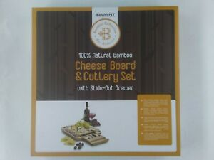Belmint Cheese Board amp; Cutlery Set Natural Bamboo Slide Out Drawer New in Box