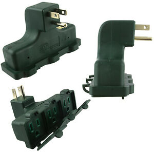 3 PC RIGHT ANGLE OUTLET WALL TAP UL GROUNDED Power Socket Splitter Plug Adapter