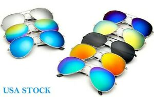 New Sunglasses Aviator Men Women Vintage Color Mirrored Metal Retro UV400