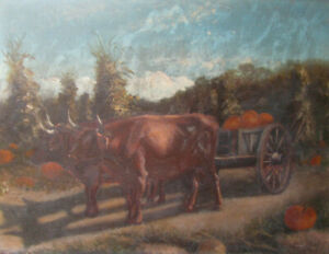 c1870s OXEN CATTLE w PUMPKIN WAGON Oil Painting on Board FARM HARVESTING antique
