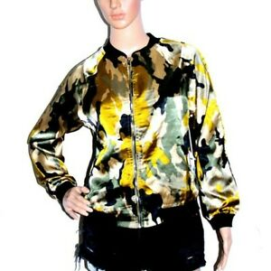 NWT Women#x27;s Lightweight Camouflage Satin Bomber Jacket small green