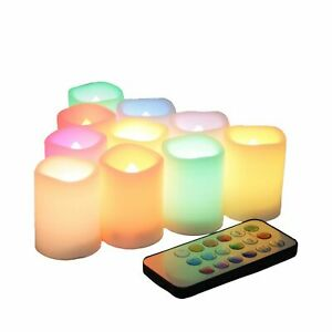 EcoGecko Set of 10 LED Color Changing Votive Candles with Remote and Timer