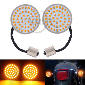 Pair 2''Bullet Style Amber 1156 LED Turn Signal Light Bulbs for Harley Softail