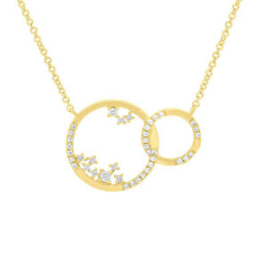 14K Yellow Gold 2 Intertwined Double Circles Floating Diamond Pendant Necklace
