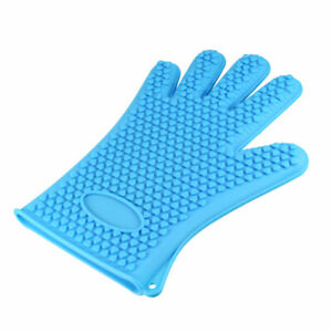 BBQ Grilling Gloves Oven Mitts Gloves for Cooking Baking Barbecue Potholder Blue