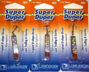LUHR JENSEN SUPER DUPER TROUT FISHING LURES #1303-503-0150 CHROME SLVPLT 3 PK