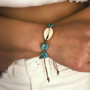 HOT Women Cowrie Shell Round Turquoise Beads Handwoven Bracelet Bangle Little