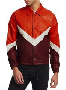NWT $3395 Valentino Men's V-Stripe Leather Jacket in Orange Sz 50-IT