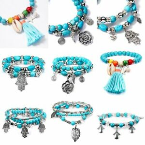 Vintage Silver Shell Tassel Bracelet Turquoise Bead Bangle Holiday Women Jewelry