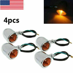 4PC Bullet Aluminum Motorcycle Turn Signal Indicator Amber Blinker Light Durable