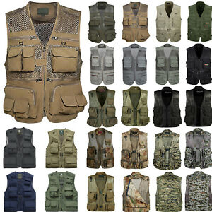 Mens Multi-pocket Fishing Hunting Hiking Vest Gilet Camo Jacket Safari Waistcoat