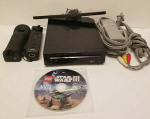 Clean Black Nintendo Wii Game Console & Controller Lego Star Wars 3 game + Cords