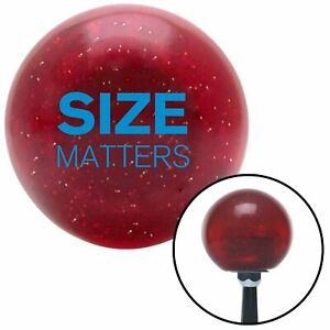 Blue Size Matters Red Metal Flake Shift Knob with 16mm x 1.5 Insert brass amp $44.95