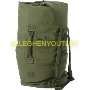 US Military Army Duffle Sea Bag Duffel OD Nylon Top Load 2 Carry Strasp Large GC $19.65