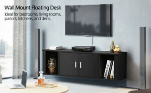Wall Mounted TV Media Console for Living Room Floating Hutch Storage Cabinet