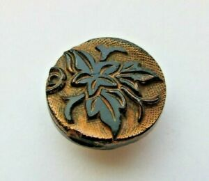 Beautiful Antique~ Vtg Victorian Black GLASS BUTTON Copper Luster Leaves (W)
