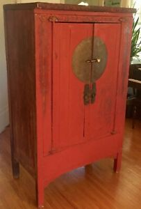 antique chinese wedding cabinet red with faded design- interior shelves