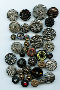 37 Antique Black Glass Buttons with Various Decoration * Average Size 1
