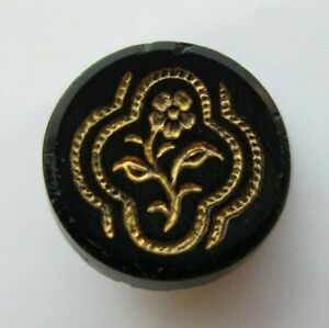 Beautiful Antique~ Vtg Victorian Black GLASS Picture BUTTON Gold Flower 34