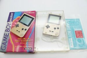 Nintendo Game Boy Pocket Console Gold MGB-001 with Box and Manual Japan