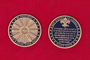 SCOUT OATH Boy Scout Challenge Coin Law Motto Slogan BSA Cub Scout Large Heavy